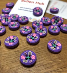 Purple Floral Designs Polymer Clay Mini Buttons: Packs of 6 buttons by ButtonHub on Etsy Button Flowers, Floral Flowers, Santa Decorations, Wooden Hearts, Summer Kids, Floral Designs, Baby Wearing, Polymer Clay, Buttons