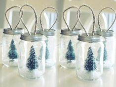 Mason Jar or Baby Food Jar DIY Christmas Ornaments Using a Mini Christmas Tree Diy Xmas, Christmas Ornament Crafts, Diy Christmas Ornaments, Christmas Projects, Holiday Crafts, Christmas Decorations, Christmas Christmas, Tree Decorations, Baby Jars