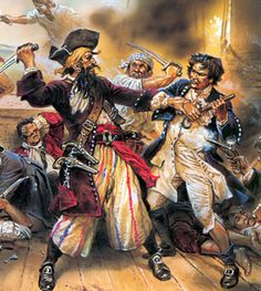 I am posting this rendering of Blackbeard's last fight because the original captain of the ship, the Wicked Wench, was based on Blackbeard. Plus, its a cool painting and the fight took place in my home state of NC.