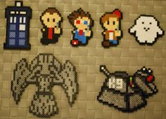 Doctor Who Perler  Tardis - 9th Doctor - 10th Doctor - 11th Doctor - Adipose - Weeping Angel - K-9  by merkittenjewelry