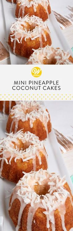 These Mini Pineapple Coconut Cakes would make a great addition to any of your brunch celebrations! Try baking these sweet treats for the perfect single serving cake to satisfy your guests sweet tooth! #wiltoncakes #brunch #brunching #brunchin #brunchtime #brunchlife #brunchdate #sundaybrunch #brunchparty #baking #morning #lunch #breakfast #afternoon #classic #recipes #snack #mealtime #homemade #minicakes #coconuts #pineapples #fruits