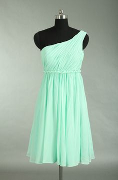 Mint One Shoulder Bridesmaid Dress Empire Waist by harsuccthing, $90.00