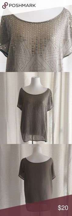 Beaded Sheer Low Shoulder Top Beautiful dark green sheer top with bronze and gold beading. This top has a very open neck and can even be worn pulled down on one shoulder. Very sexy and chic top. Size S/M. ❤️feel free to make an offer❤️ Tops Blouses