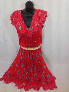 Diane Freis Dress For Marisa Christina 2pc Sweater Skirt Red Ruffle Floral Polka #DianeFreis #Maxi #Casual