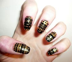 22 Beautiful Nail Art Designs 2018 Just For You Nail Art blue and white snowflakes Blue reindeer Water Decals Water Slides as in picture Use: Trim,clean then paint your nails with the color you . Glitter Nail Paint, Gold Acrylic Nails, Gold Nail Art, Black Nail Art, Nail Art Pen, Nail Polish Art, Black Nails, Black Nail Designs, Cute Nail Designs