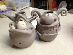 Idea: Pinning for totem possibility. Totem of monster forms?Claymonster Pottery See More. Ceramics Projects, Clay Projects, Clay Crafts, Slab Pottery, Ceramic Pottery, Pottery Art, Thrown Pottery, Pottery Studio, Pottery Ideas