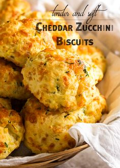Zucchini cheddar biscuits are soft, tender and full of shredded zucchini and sharp cheddar. Just drop them onto the baking tray and go. Zucchini Fritters, Shredded Zucchini Recipes, Bread Recipes, Cooking Recipes, Cooking Tips, Cheddar Biscuits, Cheese Biscuits, Biscuit Recipe, Gastronomia