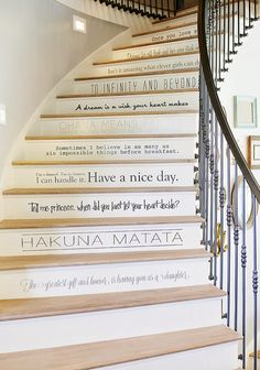 Disney quotes on stair risers, metal railing, staircase via House of Turquoise: Dream Home Tour - Day Four For top stairs to kids room Casa Disney, Disney Rooms, Disney At Home, Disney Themed Bedrooms, Disney Home Decor, Disney Family, House Of Turquoise, Stair Quotes, Future House