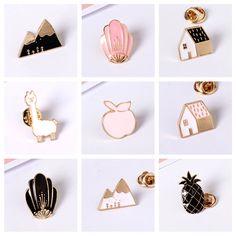 Spedizione gratuita cute cartoon animal house mountain volpe apple sheep design spille in metallo pins pulsante pin gioielli di moda per le donne