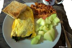 Asparagus Omelet and Fresh Fruit with Toasted Acme Bake Shop Sourdough - Captain's Shack, Boise