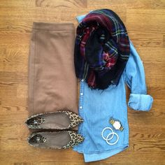 Chambray, plaid and cheetah! Love!!