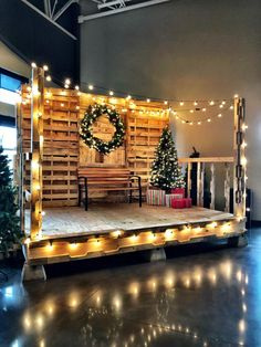 A stage we built at the church I work at for Christmas made from some sheets of ply and a TON of pallets Christmas Mini Sessions, Christmas Minis, Outdoor Christmas, Christmas Pictures, Xmas, Christmas Hacks, Christmas Ornament, Christmas Stage Decorations, Christmas Backdrops