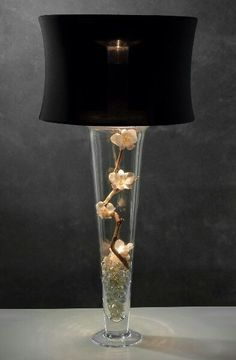 Lamp Shade Vase Light Shines Up Down With Black Spandex