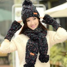 Winter knit womens hat scarf and glove set best Christmas gifts 10a1a97c1d4