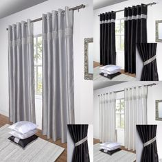 Diamante Pair Lined Ready Made Eyelet Curtains Black Silver White or Tie Backs