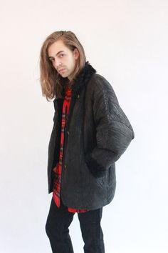 Vintage 80s Black Textured Sheepskin Coat by WastelandVintageUK on Etsy