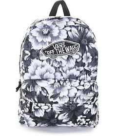 Let your Back to School style blossom with the Vans Realm Mono Floral backpack for girls. Coming in a monochromatic floral print, this mid size backpack features a large main storage compartment with zipper closures and an organizer pouch pocket that is p Pretty Backpacks, Cute Backpacks For School, Teen Backpacks, Leather Backpacks, Leather Bags, Vans School Bags, Vans Bags, Vans Backpack Girls, Backpack For Teens