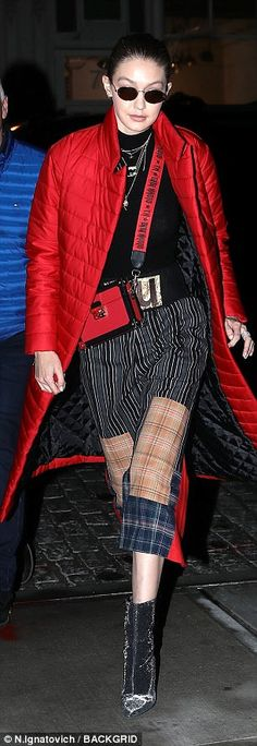Model style:The runway star chose statement making trousers, which featured stripes as we... #gigihadid #models