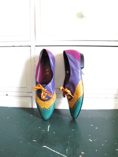Oxfords / Colorful Shoes / Size 9 N / Vintage Loafers by Coldfish, $56.00