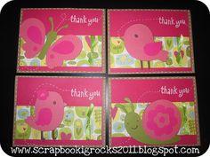 Thank you cards using the Create a Critter Cricut Cartridge