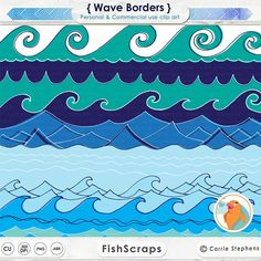 Wave Border Clip Art, 12 inch Waves, Water Clip Art, Beach ClipArt, Nautical Ocean Graphics, Sea Life, Instant Download, Border Images by FishScraps on Etsy