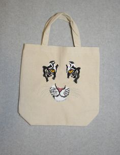 Tote Bag with Embroidered Tiger Face. 100% Natural Cotton Canvas. Durable!