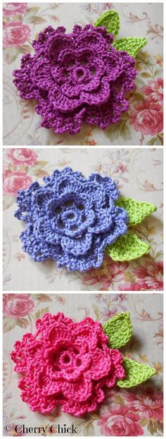Cherry Chick: Crocheted Flower Appliques