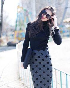 She makes polka-dots look so sleek. Black turtle neck and pencil skirt with sheer black leggings. #ritaandphill #picoftheday #fashion #style #ootd #instafashion #fashionista #fashionblogger #fashionbloggers #skirt #instastyle #lookbook #lookoftheday #outfitoftheday #fashionable #ootn #fashiondiaries #professional #fblogger #trending #whatiworetoday
