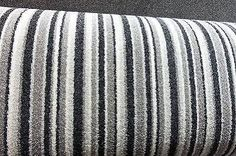 grey striped carpet for stairs Grey Striped Carpet, Striped Carpet Stairs, Striped Carpets, Beige Carpet, Stair Carpet, Carpet Decor, Diy Carpet, Rugs On Carpet, Bedroom Carpet Colors