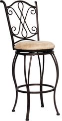 Decorate your home and kitchen with this swirled back bar stool with beige microfiber top, brown frame, and swivel seat. $83