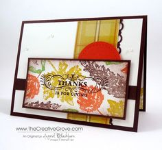 Clean and Simple Thanksgiving card using the Gently Falling and Season of Greetings stamp sets.  Sweater Weather DSP and a few simple techniques to make this classic Mojo creation.  Click the link for details and more photos. www.thecreativegrove.com #thanksgivingcards #gentlyfalling #DIYcards
