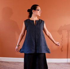 custom split neckline simple linen top made by annyschooclothing
