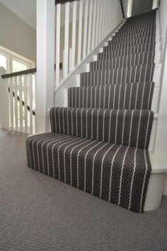 Hartley & Tissier Stripes Flatweave CF Stair runner carpet in bespoke colours supplied to and fitted by Bowloom Ltd. www.hartleytissier.com