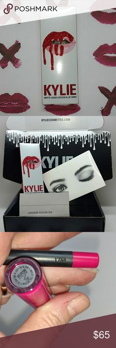 Kylie Valentine lipkit Limited edition matte lipkit color Valentine, a sexy fuscia color. Purchased from the first release. Listing includes lipstick, liner, notecard, original black shipping box and copy of original invoice. New never tested or used. Purchased 2, keeping one. No trades. Kylie Cosmetics Makeup Lipstick
