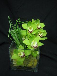Wedding, Flowers, Centerpiece, Green, Modern, Orchids, Bar, Arrangement - Project Wedding