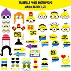 ♥ This set of Photobooth props has 29 pages and includes: 9 Minion Heads 1 Siren Headband 1 Hat 2 Hair 1 Nose 2 Bananas 1 Heart 1 Banana Word 11 Glasses 4 Bow Ties 5 Lips 5 Mustaches 4 Arrow Signs 8 Speech Bubble Signs 1 Table Sign and instructions Evil Minions, Minions Despicable Me, My Minion, Minion Craft, Minion Movie, Minion Theme, Minion Birthday, Minion Party, Birthday Ideas