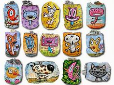 My Owl Barn: Charles Kaufman: Crushed Can Art Crafts For Kids, Arts And Crafts, Diy Crafts, Fun Illustration, Small Art, Recycled Art, Art Classroom, Heart Art, Creative Art