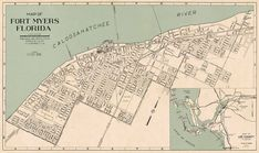 Vintage map of Fort Myers (Florida) from 1947 Fort Myers Map, Fort Myers Florida, Vintage Maps, Pigment Ink, Cards Against Humanity, Canvas Prints, Fine Art, Paper, Etsy