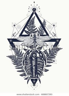 Dragonfly in triangle t-shirt design. Symbol of paleont… Prehistoric tattoo art. Dragonfly in triangle t-shirt design. Symbol of paleontology, science, education. Trilobites, dragonfly and fern tattoo Bug Tattoo, Sternum Tattoo, Tattoo Art, Science Tattoos, Tattoo Project, Best Sleeve Tattoos, Nature Tattoos, Symbolic Tattoos, Portfolio