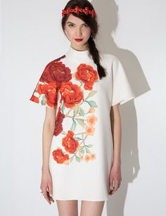 8a7b936401 Pretty and Modern White high neck mini shift dress with red floral print.  The Jerome