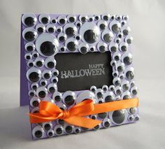 Cute idea for a frame for Halloween pictures!  I like to put out pictures from the past that match the season.  Fun to see grown kids in their childhood Halloween costumes - or Christmas outfits, etc.