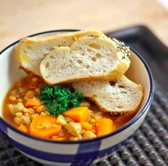 Red Lentil Chickpea Soup with Butternut Squash