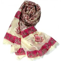 Paisley Print Stole - Pink and Off white, $34