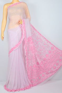 Baby Pink Color Hand Embroidered Lucknowi Chikankari Saree (With Blouse - Georgette) MC250092