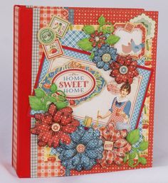 """Mini scrapbook photo album using Graphic 45's """"Home Sweet Home"""" paper collection. I have a tutorial for this album: https://www.youtube.com/watch?v=5pj3eyi1m..."""