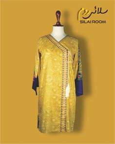 Angrakha with Digital Print Full sleeves (Bell Shape) Fabric: Lawn Full Sleeves, Dresses With Sleeves, Lawn, Digital Prints, Saree, Yellow, Long Sleeve, Fabric, Summer