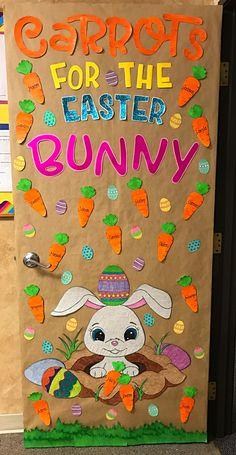 #carrots #Easterbunny Owl Classroom Door, Halloween Classroom Door, Classroom Crafts, Preschool Door Decorations, Preschool Arts And Crafts, Spring Poem, Infant Room, Door Decorating, Door Ideas