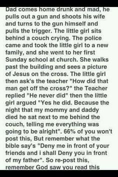 Wow. I don't really post things like this because it says to or anything, I just thought this story had a lot of truth to it.