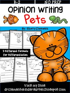 Pets Opinion Writing - Students love writing opinions about their favorite pet! This pack has been revised with different clip art and includes 3 different formats to provide for differentiation. If you own it, you can download the revision for free. kindergarten, first grade, and second grade writing -  $