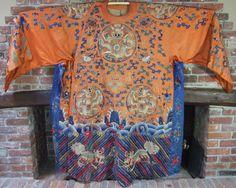 Antique Chinese Embroidered Silk Religious Idols Dragon Robe Asian Textile